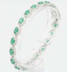 14KT White Gold Emerald & Diamond Bracelet