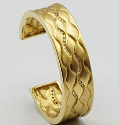 Heavy 18kt Yellow Gold Cuff with Gemstones