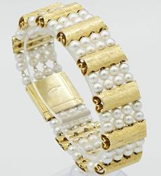 Vintage 14kt Yellow Gold Pearl Lucien Piccard Bracelet
