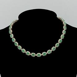 14KT Yellow Gold Emerald & Diamond Necklace