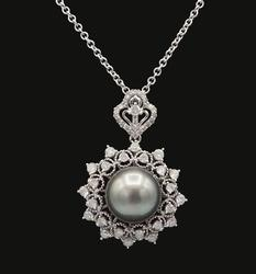 18KT White Gold Tahitian Cultured Pearl & Diamond Necklace