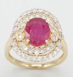 Ruby & Diamond Cocktail Ring in 14KT Yellow Gold