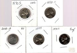 5 Different Jefferson Nickels: 1938-2010 in High Grade