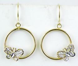 Pretty 14K Butterfly Hoop Earrings