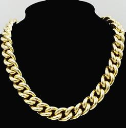 HEAVY 14KT GOLD CURB LINK NECKLACE