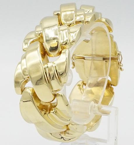 VINTAGE CHUNKY 14KT GOLD WIDE LINK BRACELET