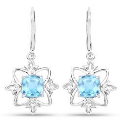 5ctw Swiss Blue Topaz Sterling Earrings