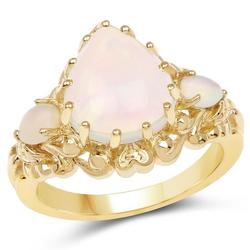 3.26cttw Ethiopian Opal 14kt Gold Plated Ring