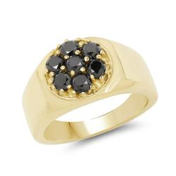 Unisex 14kt GP Black Diamond Ring- Size 8