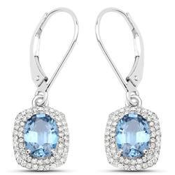 14kt Gold Blue Sapphire & Diamond Earrings