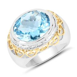 8.70ct Genuine Blue Topaz Sterling Silver Ring