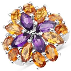 7.96ctw Amethyst and Madeira Citrine Sterling Ring