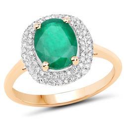 14kt Gold Emerald & Diamond Halo Ring