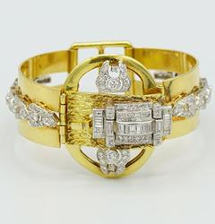18kt Yellow Gold and Platinum Diamond Bangle