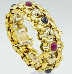 Intricate 18kt Yellow Gold Gemstone Interlocking Bracelet