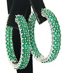 18kt Natural Emerald Hoop Earrings