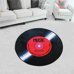 120cm Vinyl Record Printed Soft Fabric Round Floor Mat