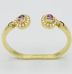 18kt Gold Pink & Blue Sapphire Bracelet w/ Diamonds!