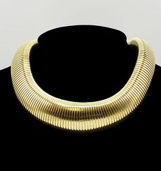 Thick 14kt Solid Yellow Gold Wide Omega Necklace