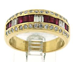 Natural Rubies and Diamond Ring in 18kt