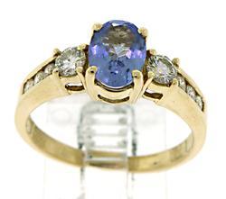 Nice Tanzanite and Diamond Ring