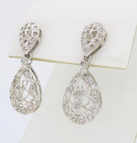 14K White Gold Vintage Inspired Diamond Earrings