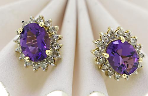 Beautiful Amethyst Stud Earrings with Diamond Halo