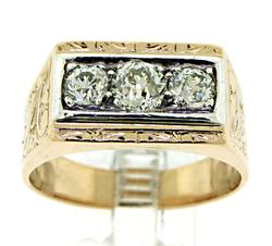 Vintage Gent's Diamond 3 Stone Ring