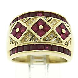 Ruby and Diamond Accent Wide Band