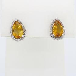 White Gold Citrine and Diamond Halo Earrings