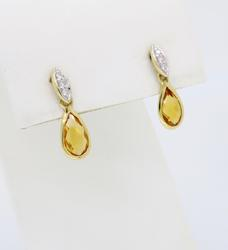 14K Yellow Gold Citrine & Diamond Dangle Earrings
