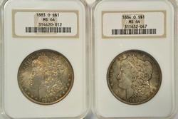 Old NGC MS64 graded 1883-O & 84-O Morgan Silver Dollars