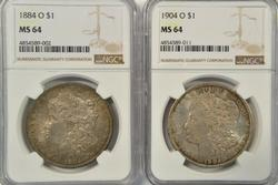 Lovely 1884-O & 1904-O Morgan Silver Dollars. NGC MS64