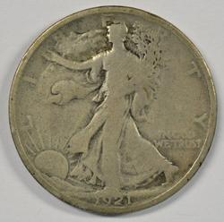 Rare key date 1921-P Walking Liberty Half Dollar in VG