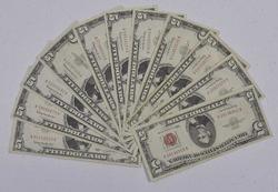 12 x $5 1963 Red Seal Notes, Circ