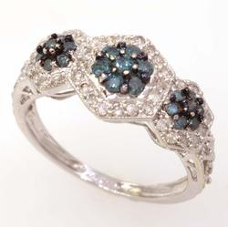 Blue & White Diamond Ring, Size 8
