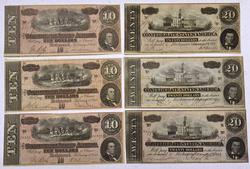 Confederate States 1864 Notes 3 x $10, 3 x $20