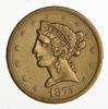 1875-S $5.00 Liberty Head Gold Half Eagle - Sharp