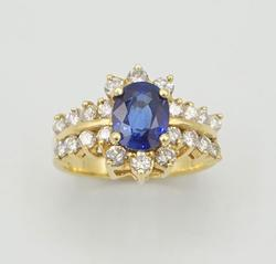 SPARKLING BLUE SAPPHIRE & DIAMOND RING, 14KT GOLD