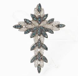 BLUE AND WHITE FANCY DIAMOND CROSS PENDANT