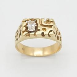 GENTS GOLD NUGGET DIAMOND RING