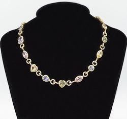 STUNNING 18K GOLD SAPPHIRE & DIAMOND NECKLACE