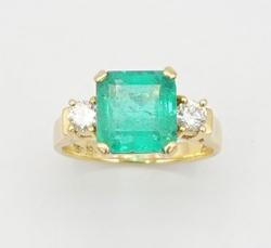 FANCY 18KT GOLD EMERALD AND DIAMOND RING