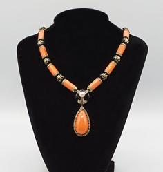 CUSTOM MADE OLD ENGLISH CORAL NECKLACE