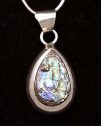 Tear-Drop Abalone Pendant on 16in Chain