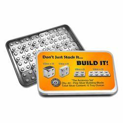 12oz Silver Building Block Bars 40pc Accessory Set