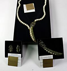 Heidi Daus Set of Peapod Earrings Necklace and Pin