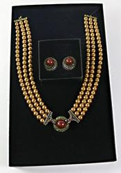 Heidi Daus Red Stone and Pearl Necklace and Earrings