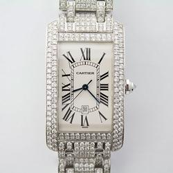 Diamonds Galore! 18Kt White Gold Cartier Tank Americaine