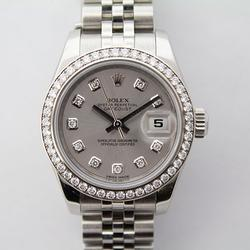 Ladies Stainless Steel Rolex With Factory Set Diamonds